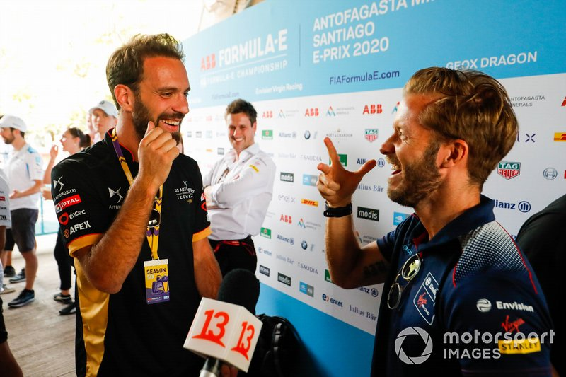 Jean-Eric Vergne, DS Techeetah, Sam Bird, Virgin Racing laughing