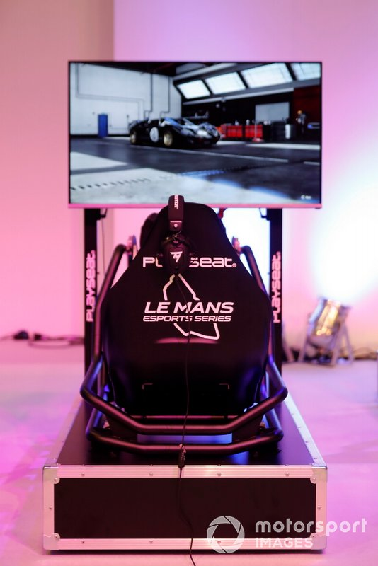 One of the simulator rigs on the Le Mans eSports Series stand