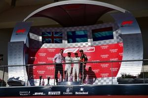 James Allison, Technical Director, Mercedes AMG, Lewis Hamilton, Mercedes AMG F1, 2nd position, Valtteri Bottas, Mercedes AMG F1, 1st position, and Max Verstappen, Red Bull Racing, 3rd position, on the podium