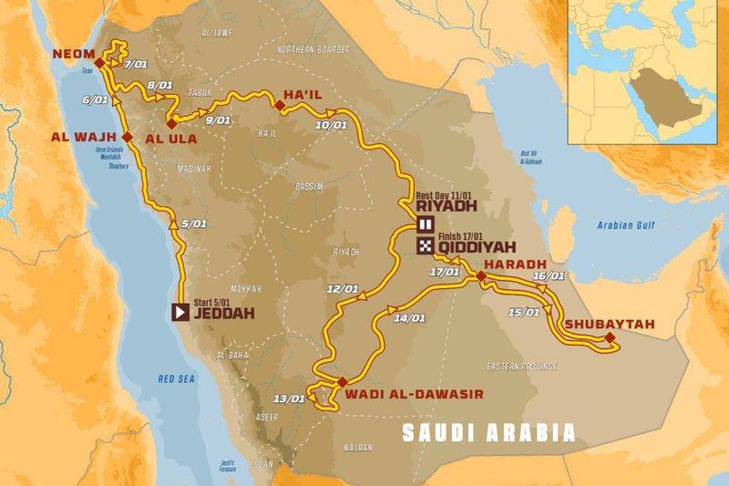 O mapa do Dakar 2020