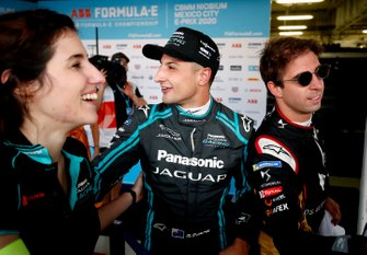 Race winner Mitch Evans, Jaguar Racing in the media pen with Antonio Felix da Costa, DS Techeetah, 2nd position