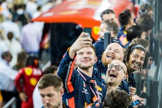 Red Bull team members celebrate after the race