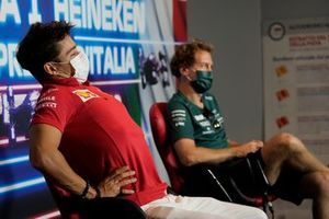 Charles Leclerc, Ferrari SF21 Sebastian Vettel, Aston Martin AMR21 at the press conference