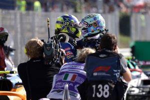 Lando Norris, McLaren, 2nd position, and Daniel Ricciardo, McLaren, 1st position, congratulate each other in Parc Ferme