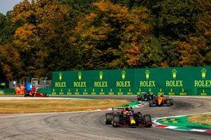 Max Verstappen, Red Bull Racing RB16B, Lando Norris, McLaren MCL35M, and Lewis Hamilton, Mercedes W12