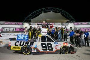 Race winner Christian Eckes, ThorSport Racing, Toyota Tundra Curb Records