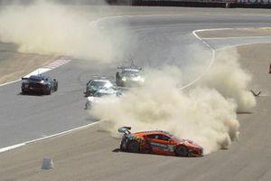 #27: Heart of Racing Team Aston Martin Vantage GT3, GTD: Ian James, Alex Riberas, #76: Compass Racing Acura NSX GT3, GTD: Jacob Abel, Mario Farnbacher, #66: Gradient Racing Acura NSX GT3, GTD: Till Bechtolsheimer, Marc Miller crash