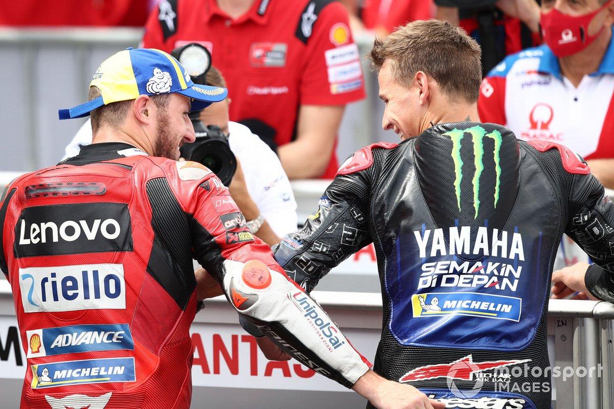 Segundo puesto Jack Miller, Ducati Team, tercer Puesto Fabio Quartararo, Yamaha Factory Racing