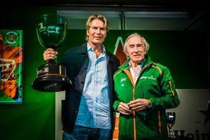 Designer Piet Boon holding the Dutch GP trophy with alongside him Sir Jackie Stewart