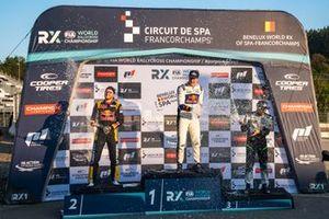 Podium : Le vainqueur Johan Kristoffersson, KYB EKS JC Audi S1, le deuxième Kevin Hansen, Hansen World RX Team Peugeot 208, le troisième Krisztián Szabó, GRX-SET World RX Team Hyundai i20
