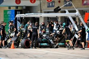 Valtteri Bottas, Mercedes W12, in the pits during practice