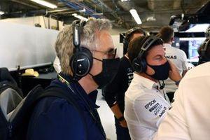Actor Ben Stiller alongside Toto Wolff, Team Principal and CEO, Mercedes AMG, in the Mercedes garage