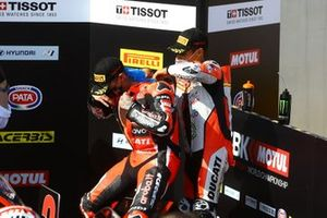 Michael Ruben Rinaldi, Team Goeleven helps Scott Redding, Aruba.it Racing Ducati fit his ice pack