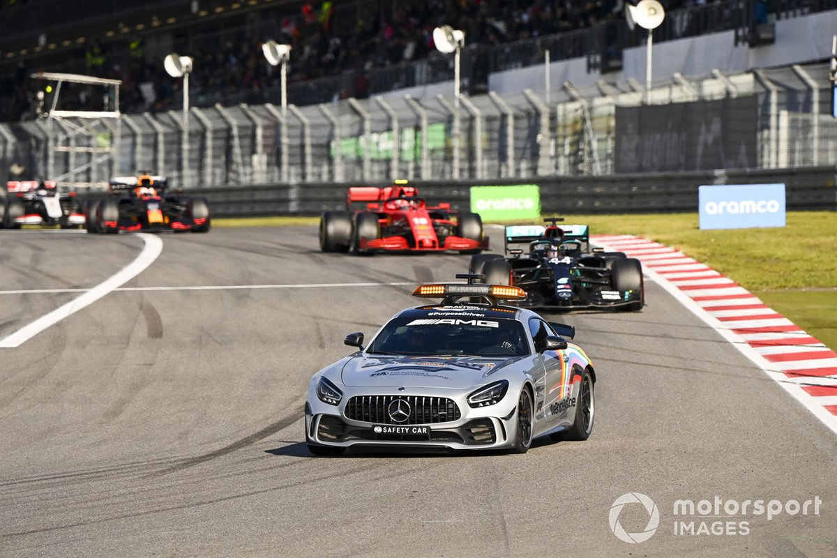 Safety Car Lewis Hamilton, Mercedes F1 W11 and Charles Leclerc, Ferrari SF1000