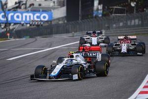 Nicholas Latifi, Williams FW43, Sebastian Vettel, Ferrari SF1000, and Kimi Raikkonen, Alfa Romeo Racing C39