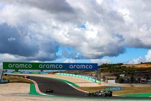 Sebastian Vettel, Ferrari SF1000, Esteban Ocon, Renault F1 Team R.S.20, and Valtteri Bottas, Mercedes F1 W11
