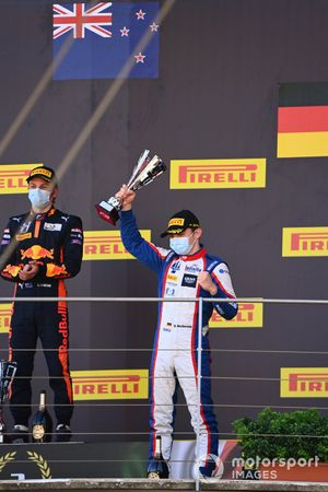 Liam Lawson, Hitech Grand Prix and David Beckmann, Trident celebrate on the podium
