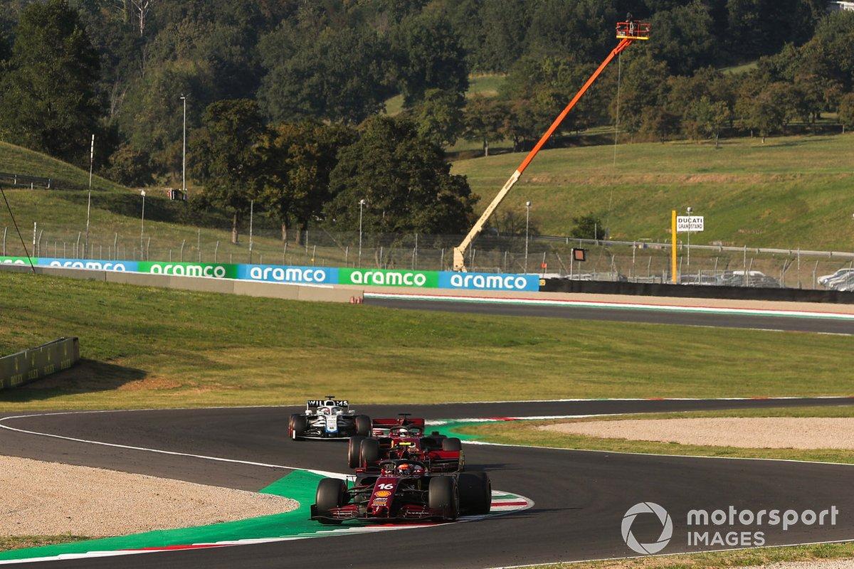 Charles Leclerc, Ferrari SF1000, Sebastian Vettel, Ferrari SF1000, and George Russell, Williams FW43