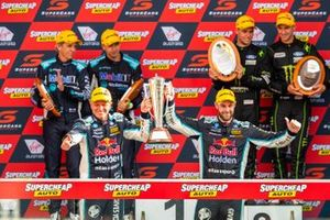 Race winners Shane van Gisbergen, Garth Tander, Triple Eight Race Engineering Holden, second Cameron Waters, Will Davison, Tickford Racing Ford, third place Chaz Mostert, Warren Luff, Walkingshaw Andretti United Holden