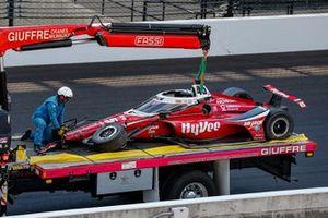 Car of Spencer Pigot, Rahal Letterman Lanigan w/ Citrone/Buhl Autosport Honda, after his crash
