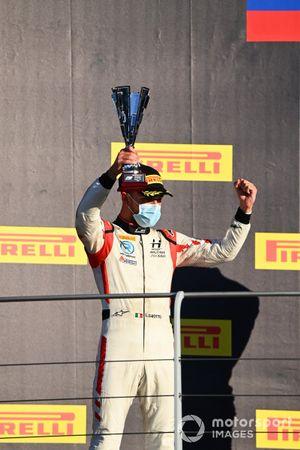 Luca Ghiotto, Hitech Grand Prix celebrates on the podium
