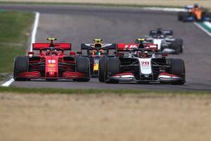 Kevin Magnussen, Haas VF-20, battles with Charles Leclerc, Ferrari SF1000