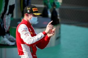 Race Winner Frederik Vesti, Prema Racing celebrates on the podium