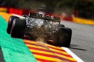 Lewis Hamilton, Mercedes F1 W11, kicks up some sparks