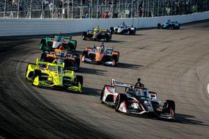 Rinus VeeKay, Ed Carpenter Racing Chevrolet, Simon Pagenaud, Team Penske Chevrolet, Oliver Askew, Arrow McLaren SP Chevrolet
