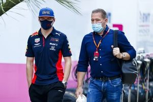 Max Verstappen, Red Bull Racing and Jos Verstappen in the paddock