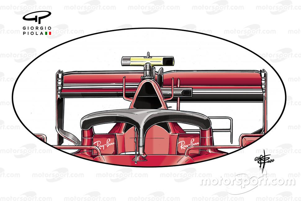 Dettaglio dell'ala posteriore della Ferrari SF1000