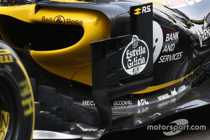 Vue détaillée d'un déflecteur sur la Renault R.S.18 de Nico Hülkenberg