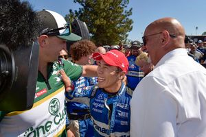 Takuma Sato, Graham Rahal, Bobby Rahal, Rahal Letterman Lanigan Racing Honda celebrate the win in victory lane