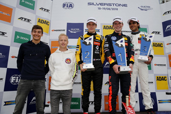 Podium: Race winner Dan Ticktum, Motopark Dallara F317 - Volkswagen, second place Sacha Fenestraz, Carlin Dallara F317 - Volkswagen, third place Enaam Ahmed, Hitech Bullfrog GP Dallara F317 - Mercedes-Benz with George Russell, Reserve Driver Mercedes AMG F1, Niktia Mazepin,Test Driver Force India F1