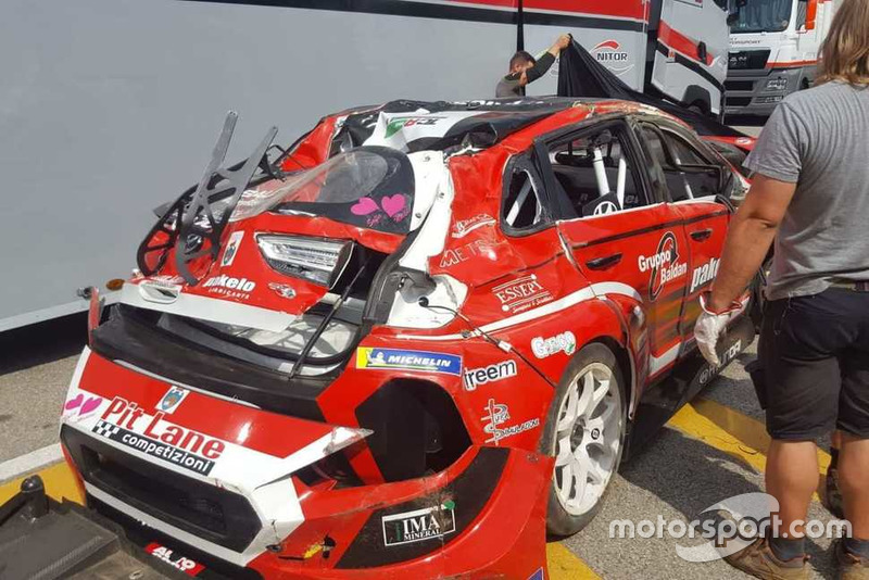 La Hyundai di Nicola Baldan dopo l'incidente