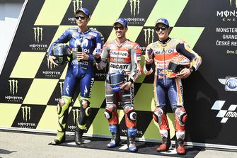Polesitter Andrea Dovizioso, Ducati Team, second place Valentino Rossi, Yamaha Factory Racing, third place Marc Marquez, Repsol Honda Team