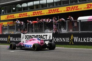 Esteban Ocon, Racing Point Force India VJM11 crosses the line