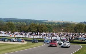 Karl Wendlinger, Studebaker Silver Hawk, and Emanuele Pirro, Alfa Romeo Giulietta Ti, lead the field at the start of the St. Mary's Trophy Part 1