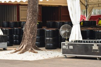 Pirelli tyres are unpacked from containers