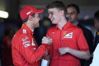 Sebastian Vettel, Ferrari, with Ferrari Driver Academy and F3 racer Marcus Armstrong