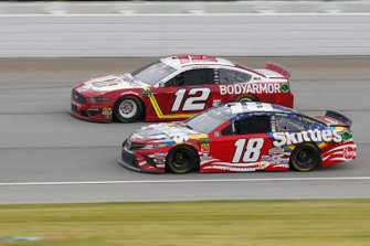 Kyle Busch, Joe Gibbs Racing, Toyota Camry Skittles Red, White & Blue Ryan Blaney, Team Penske, Ford Mustang BodyArmor