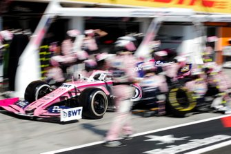 Sergio Perez, Racing Point RP19, makes a pit stop