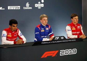 Jehan Daruvala, PREMA Racing, Robert Shwartzman, PREMA Racing and Marcus Armstrong (NZL PREMA Racing, in the press conference