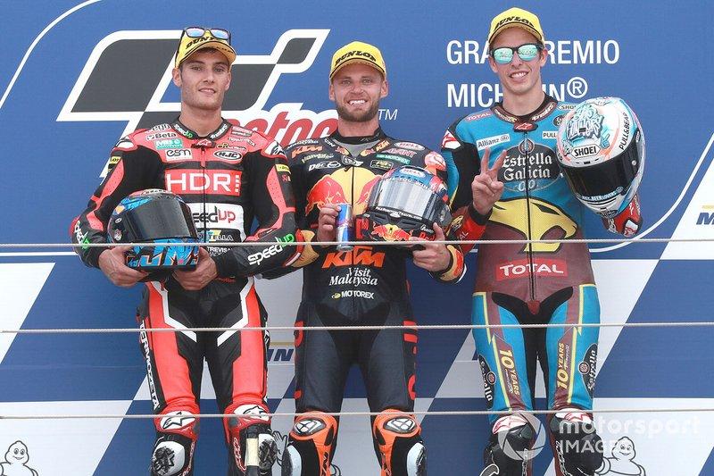 Podio: il vincitore della gara Brad Binder, KTM Ajo, il secondo classificato Jorge Navarro, Speed Up Racing, il terzo classificato Alex Marquez, Marc VDS Racing