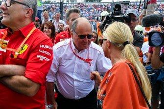 Corinna Schumacher celebrating the F2 win of Mick Schumacher
