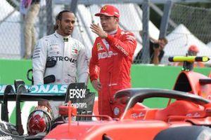 Front row starters Lewis Hamilton, Mercedes AMG F1, and pole man Charles Leclerc, Ferrari
