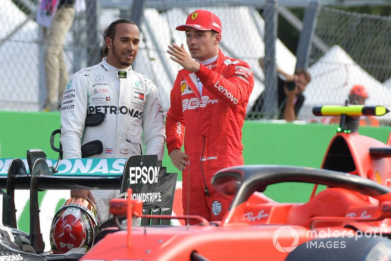 Front row starters Lewis Hamilton, Mercedes AMG F1, and pole man Charles Leclerc, Ferrari