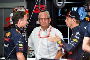 Christian Horner, Team Principal, Red Bull Racing, Helmut Markko, Consultant, Red Bull Racing, and Max Verstappen, Red Bull Racing