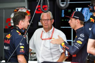 Christian Horner, Team Principal, Red Bull Racing, Helmut Marko, Consultant, Red Bull Racing, and Max Verstappen, Red Bull Racing