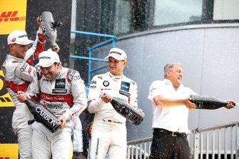 Podium: le vainqueur Mike Rockenfeller, Audi Sport Team Phoenix, le deuxième Marco Wittmann, BMW Team RMG, le troisième Nico Müller, Audi Sport Team Abt Sportsline, Ernst Moser, Audi Sportm Team Phoenix